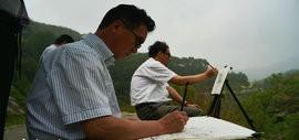 高清图:天津著名山水画家到阜平三道岭采风写生