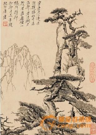 以版画的笔墨刀痕孜孜以求地表现松树顽强不屈的生命力及与山石风云